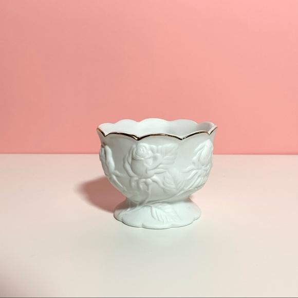 Vintage white rose catch all bowl
